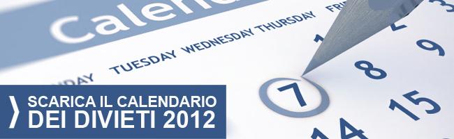 Calendario divieti circolazione camion 2012